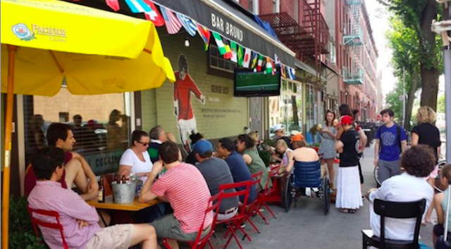 You want to get in that space where the bar begins and the sidewalk cafe ends. Photo via Bar Bruno.