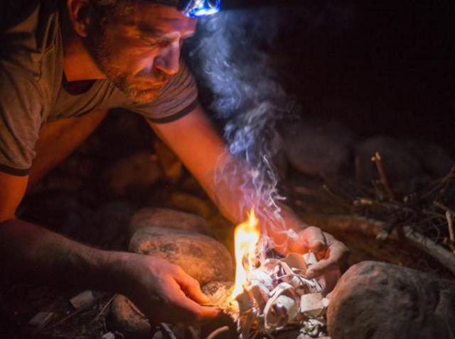 DiCerbo is a whiz at all the caveman stuff. Photo via Destination Backcountry Adventures.