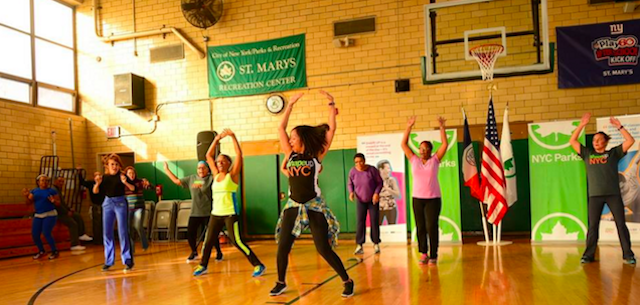 St. Mary's Recreation Center in the Bronx is one of 250 locations offering free Shape Up NYC classes. Photo via Shape Up NYC on Facebook.