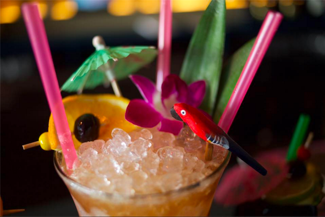 Sipping on tiki drinks while you play will give you pinball super powers. Photo via Super Power Bar on Facebook.