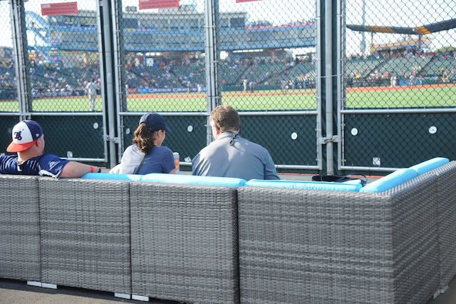 You can watch the game right through the fence from these comfortable seats.