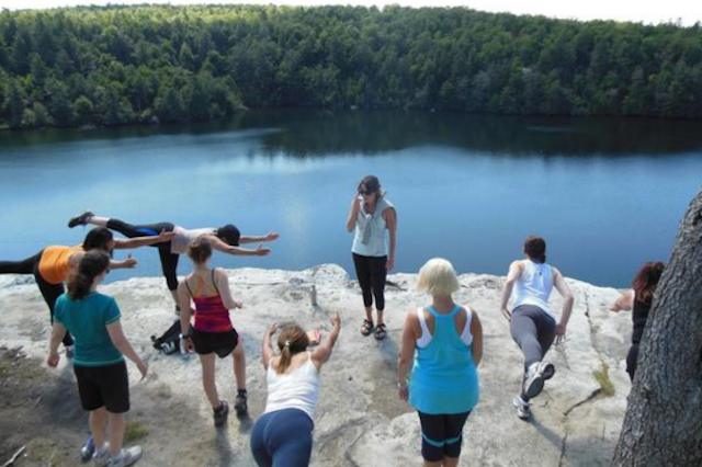 Destination Backcountry Adventures also leads wholistic trips, which incorporate yoga at scenic locales. Photo via DBA.