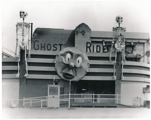 Dark rides are not just an American thing. This Ghost Ride was found at Luna Park, Melbourne, 1938, Photo courtesy of Luna Park Melbourne.