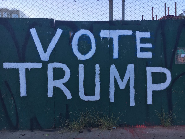 The Bushwick Trump sign as of 9/7, now paint free again. Photo by Mary Dorn/Brokelyn.