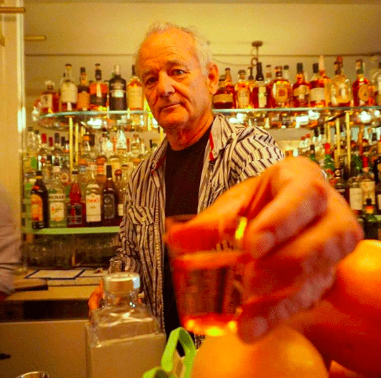Bill Murray makes the weather and the drinks. Via @thirstynyc.