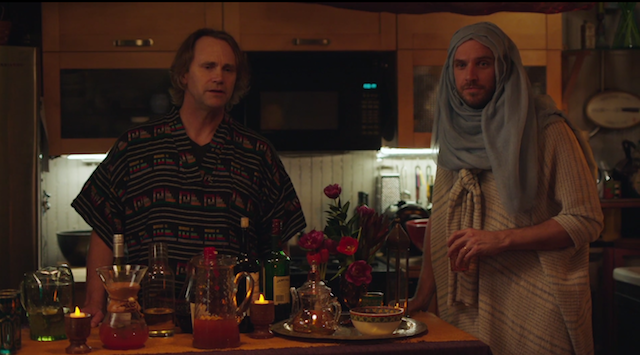 Leo (Lee Tergesen) and Dan Stevens at the sex party. Via screenshot