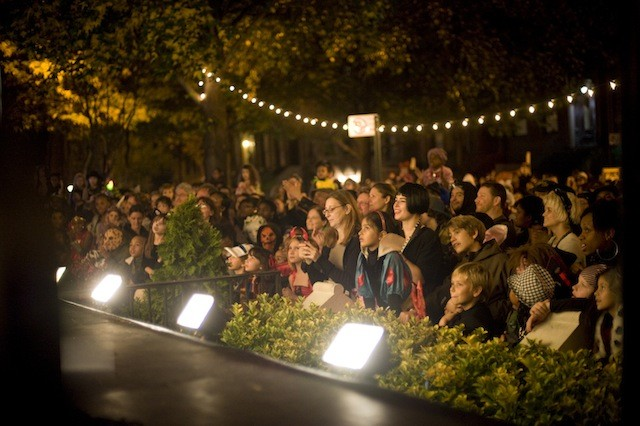 Neighborhood residents gather round for a Halloween 313 spectacular. Credit: Chris Franko.