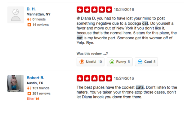 More cat defenders to the Yelp rescue.