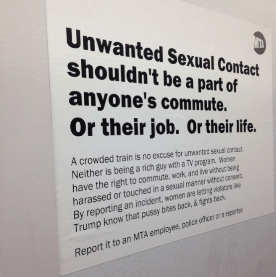 Fake MTA poster urges Donald Trump not to grope women on the train, or anywhere