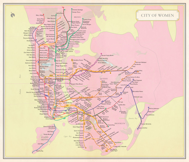 What the subway map would look like if it were named after women