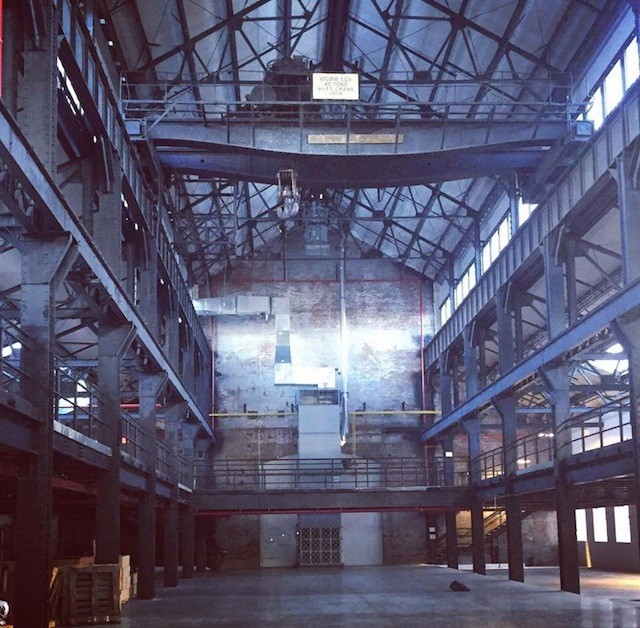 The skeleton of MAST's new warehouse space at the Brooklyn Navy Yard. via FB