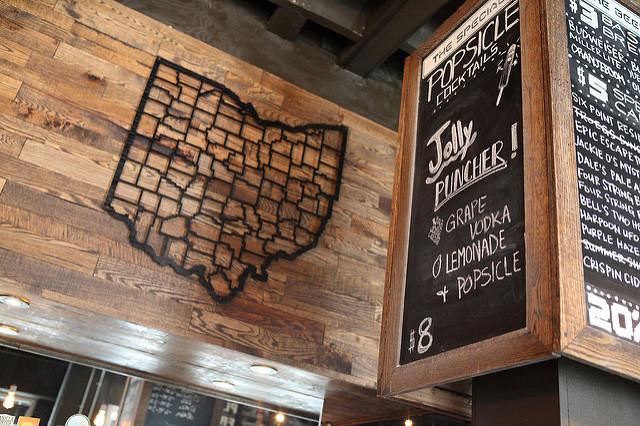 Ohio artwork and drink menu at 16-Bit Bar + Arcade in downtown Columbus. Via Flickr user aloha75.