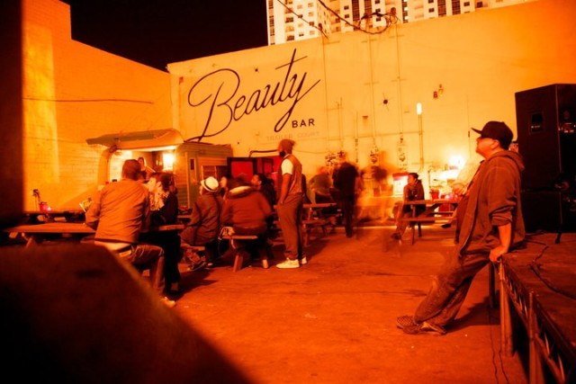 The Beauty Bar in Vegas comes with its own beer garden. Via Facebook.