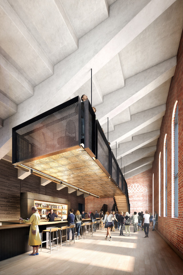 A rendering of the new atrium bar. Via Nitehawk.