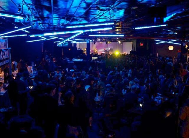 Party under the blacklight at Brooklyn Bazaar. via FB