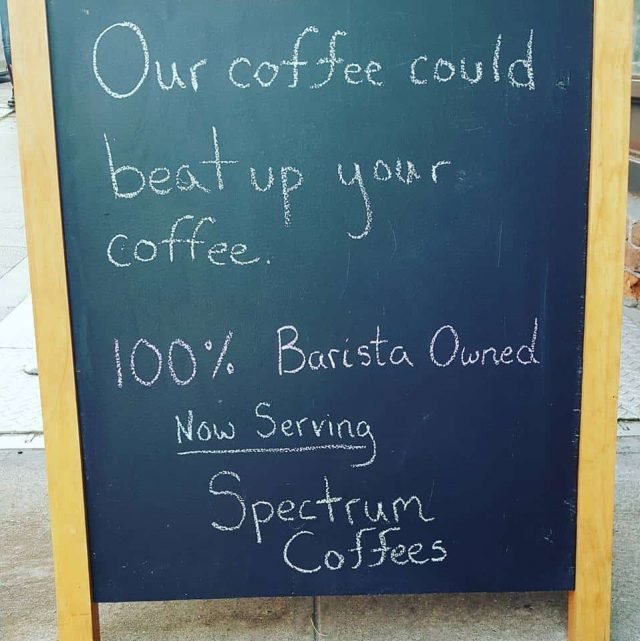 The sign outside Cafe Beit, which was taken over by baristas last year. Via Facebook.