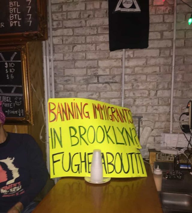 Sign spotted later Saturday night at Friends and Lovers. Photo by Tim Donnelly/Brokelyn.