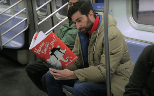 Watch: Comedian Scott Rogowsky clowns on Trump with more fake book covers on the subway