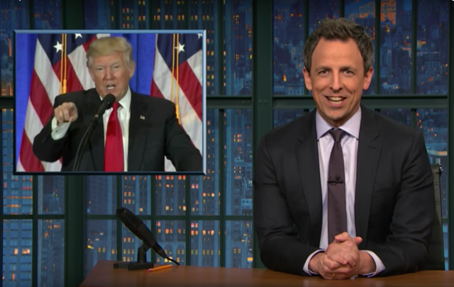 You could be the genius behind everything Seth Meyers says about Trump. via screenshot