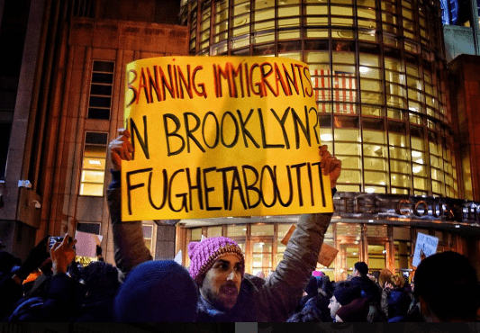 'Not this time, motherf–ker:' How Brooklyn raged against Trump's Muslim ban this weekend