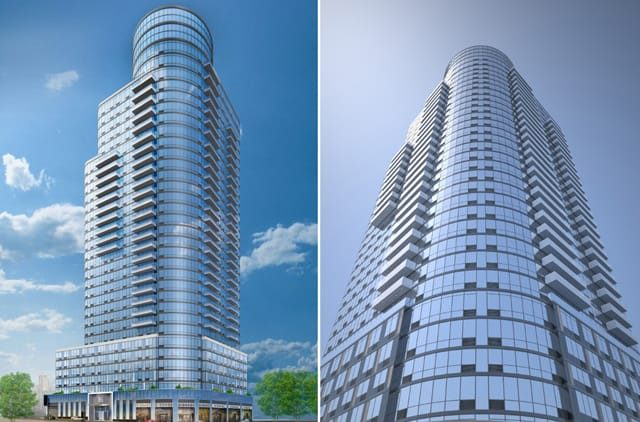 Renderings of 86 Fleet Place via CityRealty (left) and YIMBY (right).