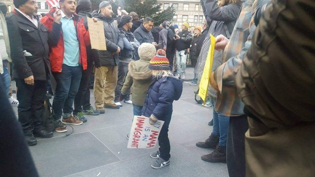 Tiny protesters. Photo by Hannah Frishberg/Brokelyn.