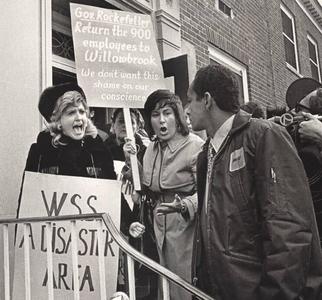 Victoria Schneps-Yunis protesting budget cuts at Willowbrook State School for the disabled in Staten Island in 1971