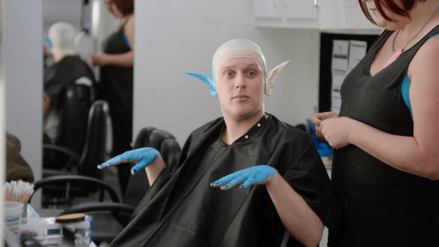 Early gets his makeup on during a scene from 555. Via Vimeo.