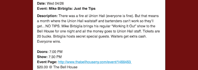 From the Bell House's Tuesday newsletter