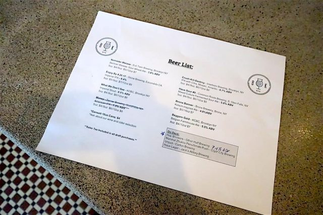 The opening menu at Beer Karma includes local options like KCBC and Interboro.