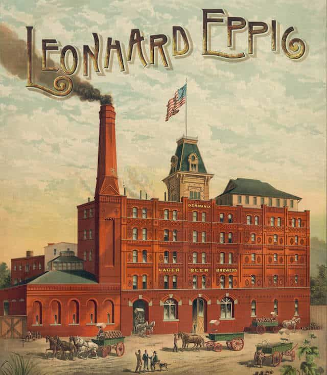 Circa 1890 ad for the Leonhard Eppig Brewery. Image via Library of Congress