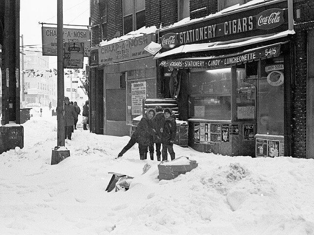 Boro Park Winter 1977-1978. This was the beginning of The Storm we still talk about. Drifts ove 8ft high. These girls (not boys as I thought) let me take a nice 1st shot then got fresh with a snowball.