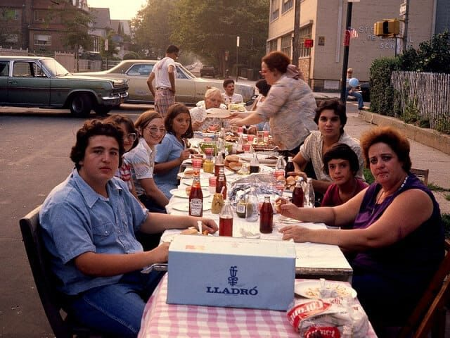 "57th st block party 1977 Boro Park, Brooklyn NYC In the front Anthony ""B"" and Mom with Johnny. The guys block off even the street exits with their cars to keep the kids from wandering out into the active 13th Avenue"