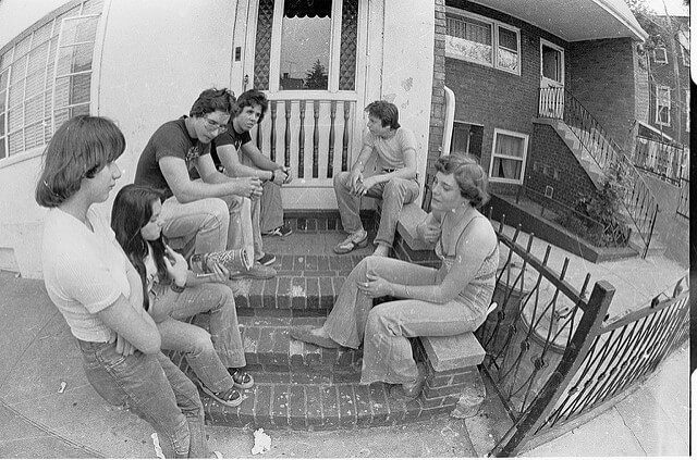 Brooklyn Stoop Hangout 1977 - Boro Park...We all went to the same grammar school across the avenue.