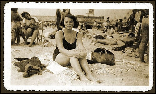 Aunt Rose, redhead at Coney Island 1949 by Mom