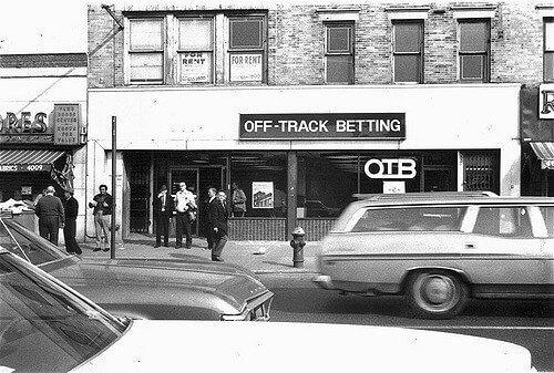 OTB Brooklyn Bay Ridge 1977 70s 5th Avenue men at off-track betting storefront