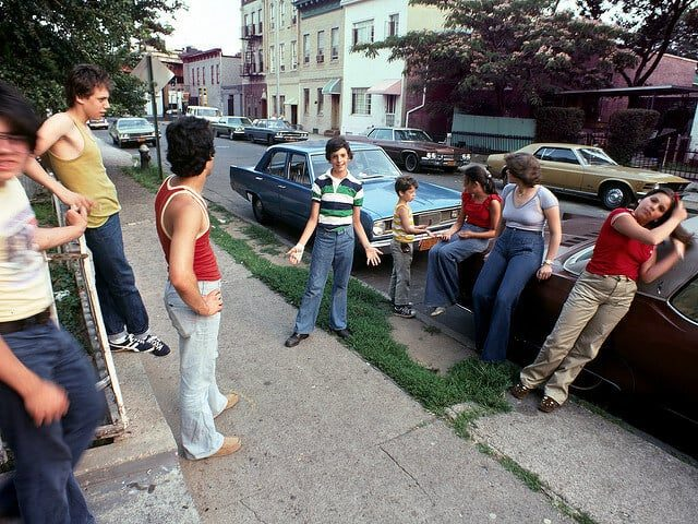 Hanging out, relaxing in front of my porch steps in Brooklyn 1977