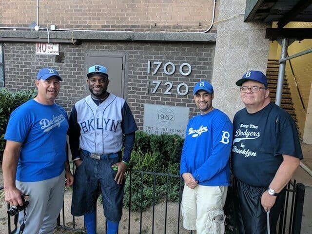 Fans still visit the former site of Ebbets Field. Photo by Hannah Frishberg