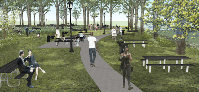 A rendering of an improved picnic area has no obvious celebrities, but these people are clearly all on the come up