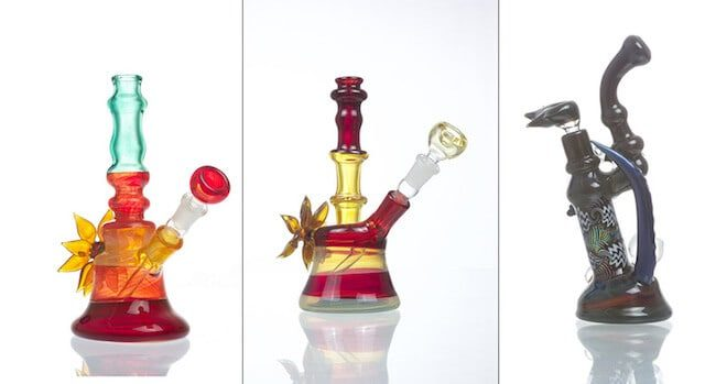 From left, a Multi Colored Water Pipe, Single Flower Heady Fumed Bong and Heady Double-Layer Bong.