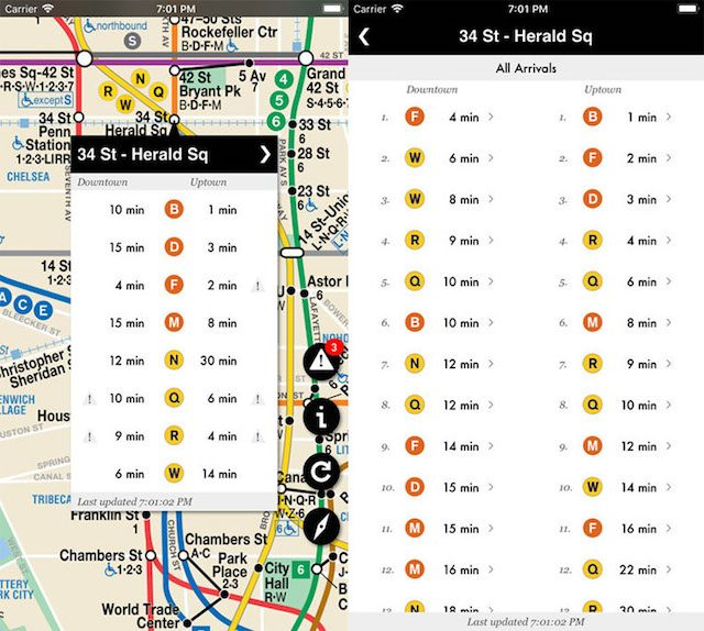 This free app maps all available subway arrival time data