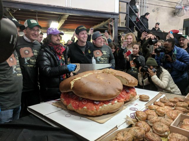 A 213 pound bagel with lox was created and consumed in Greenpoint today