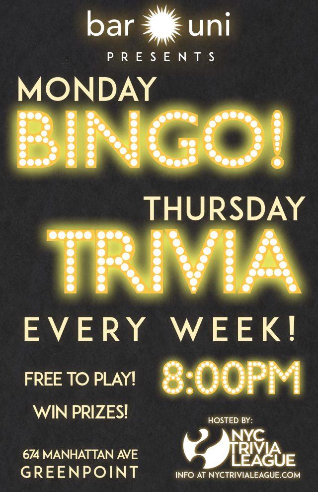 Bingo Night with NYC Trivia League at Bar Uni