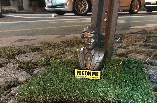 Trump 'Pee on Me' statues are taking over Park Slope sidewalks and it's hilarious