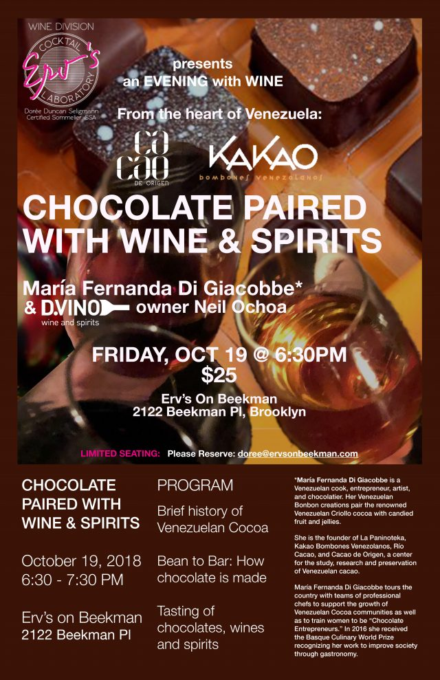 Erv's Monthly Wine Tasting: Chocolate Paired with Wine & Spirits