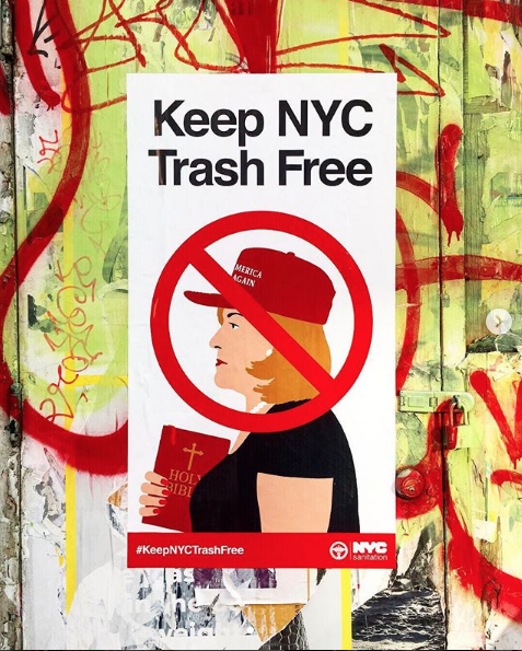 Genius anti-MAGA posters remind you to keep NYC 'trash free'
