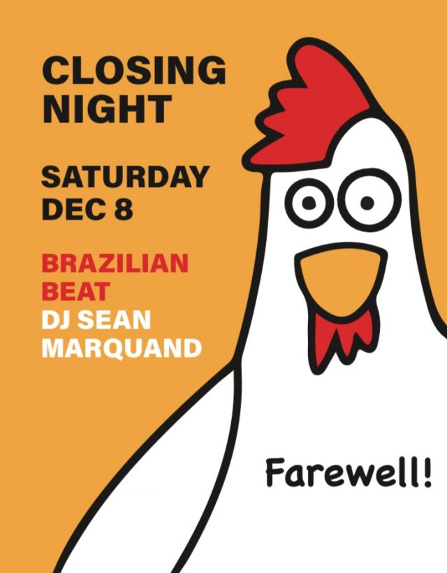 Hot Bird Bar is closing this Saturday with a goodbye party (12/8)