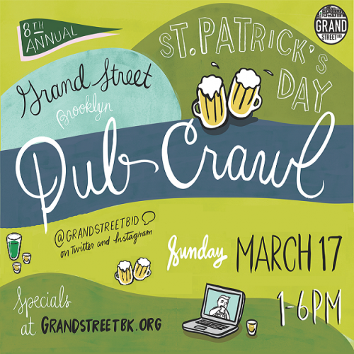 Celebrate St. Patrick's Day with Drinks Specials & Free Food on Grand St! (Sunday, 3/17)