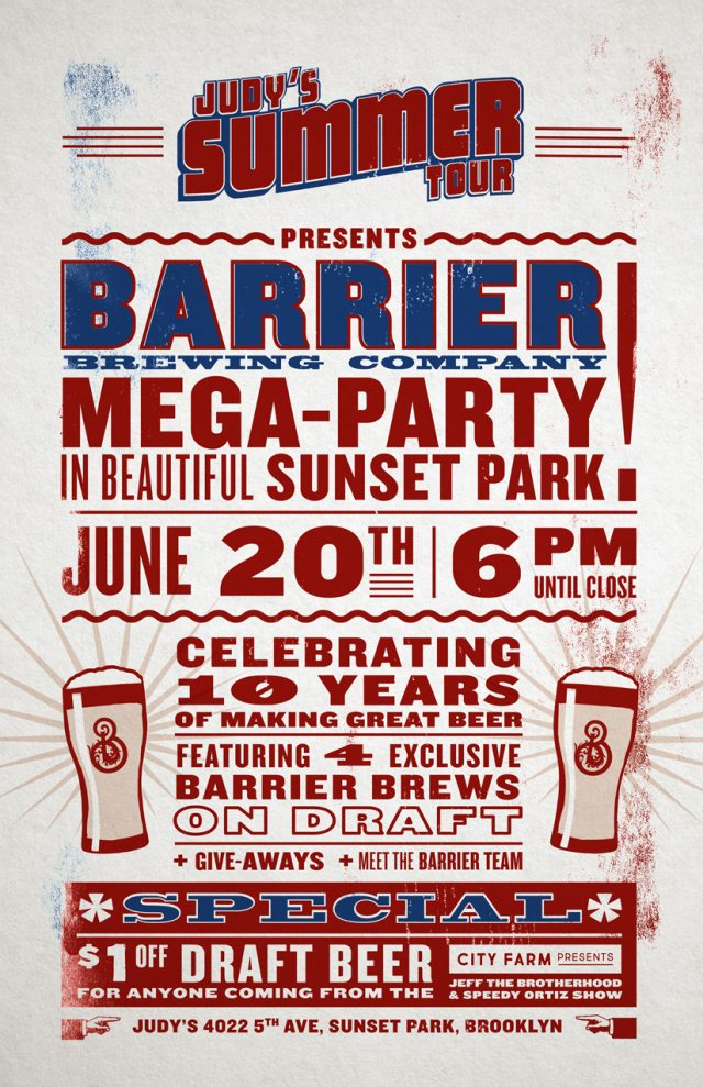 Judy's presents Barrier Brewing Mega-Party