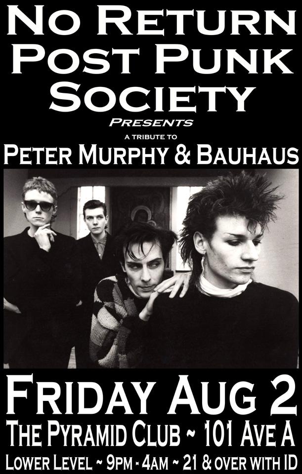 No Return Presents a Peter Murphy & Bauhaus Tribute Party!
